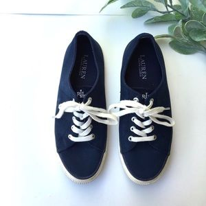 Lauren Ralph Lauren Jolie Navy Canvas Preppy Shoes